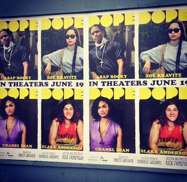 Iman pictured on the Dope poster with A$AP Rocky, Zoe Kravitz and Blake Anderson
