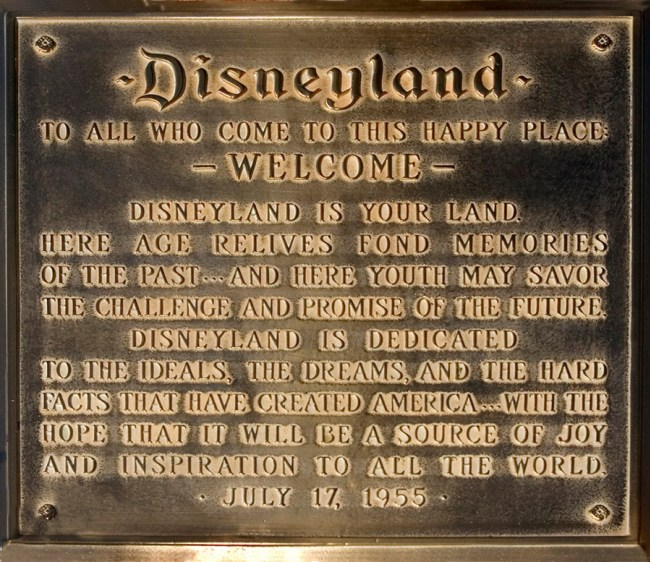Walt Disney's Opening Day Dedication. Photo credit: The Disney Examiner