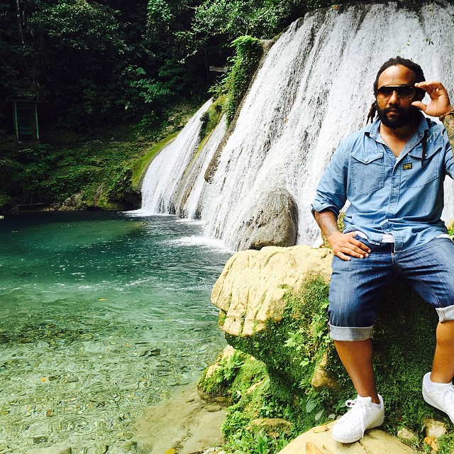Photograph: @maestromarley Ky-mani Marley on location for a video shoot in Reach Falls.