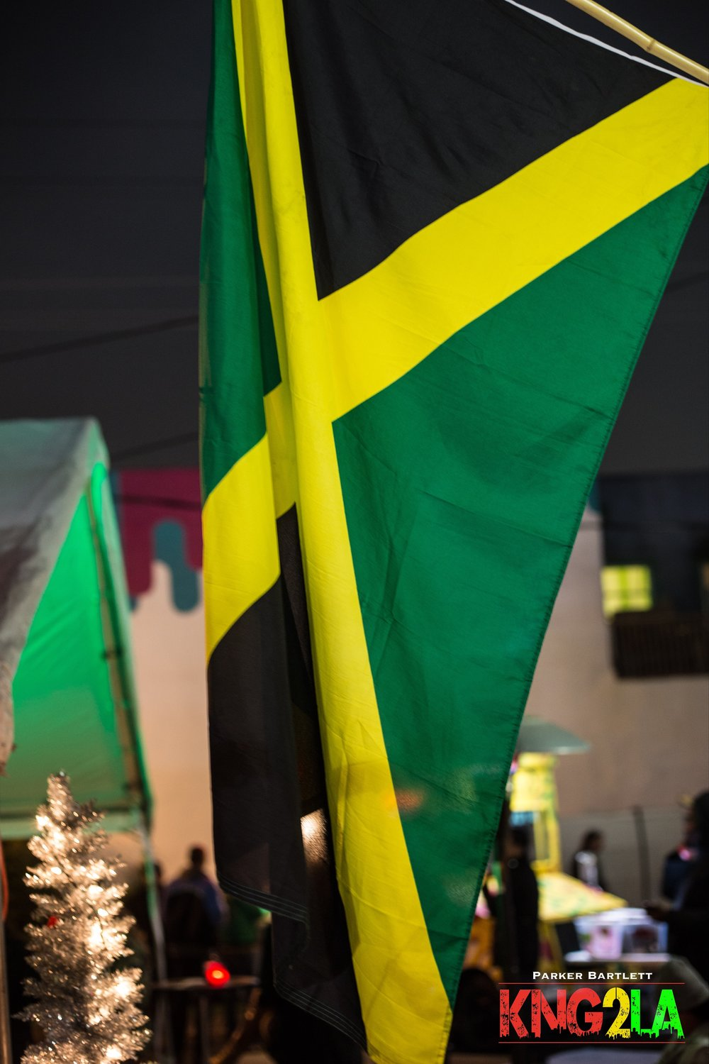 The Jamaican flag flies high at Boomyard LA.