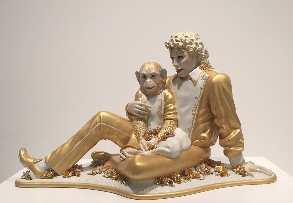 """Michael Jackson and Bubbles"" sculpted by contemporary artist Jeff Koons in 1998. On display at The Broad museum in LA. Photo by: Amanda Holmgren."