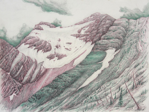 "Grant: Great Bear Wilderness . Graphite and color pencil. 18""x24"". 2014"