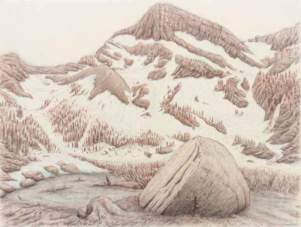 "Blackwell: Cabinet Mountain Wilderness.  Graphite and color pencil. 18""x24"". 2014."