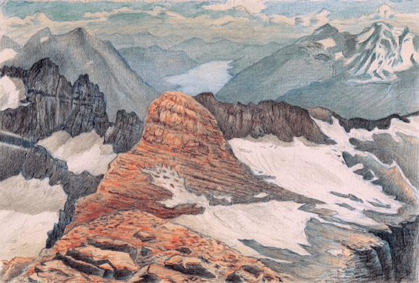 "Grinnell, The Salamander, Gem and Swiftcurrent from Mount Grinnell: Glacier National Park.  Graphite and color pencil. 6""x9"". 2015."