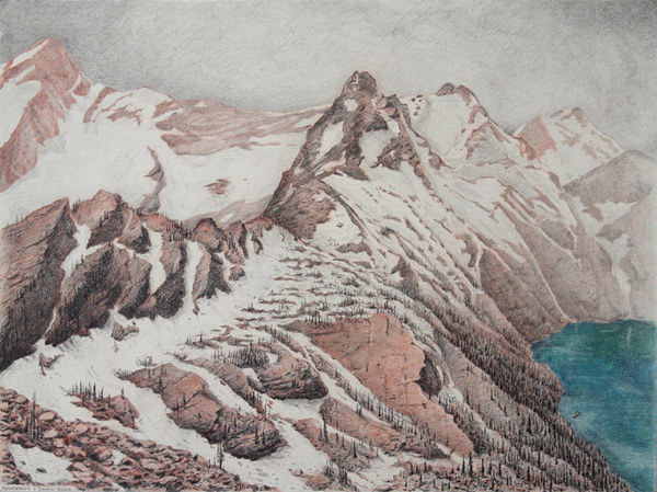 "Sunrise and Mountaineer: Mission Mountain Wilderness.  Graphite and color pencil. 18""x24"". 2015."