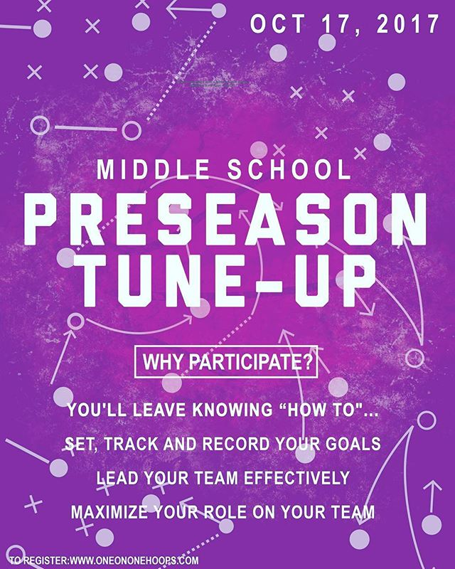 Get into shape fast with our middle school Preseason Tune-Up for girls in grades 5-8. This 2-hour clinic will be held at the Galvin School in Wakefield, MA. Top instruction led by former college student-athletes.  Sign up before it's too late!  www.oneononehoops.com