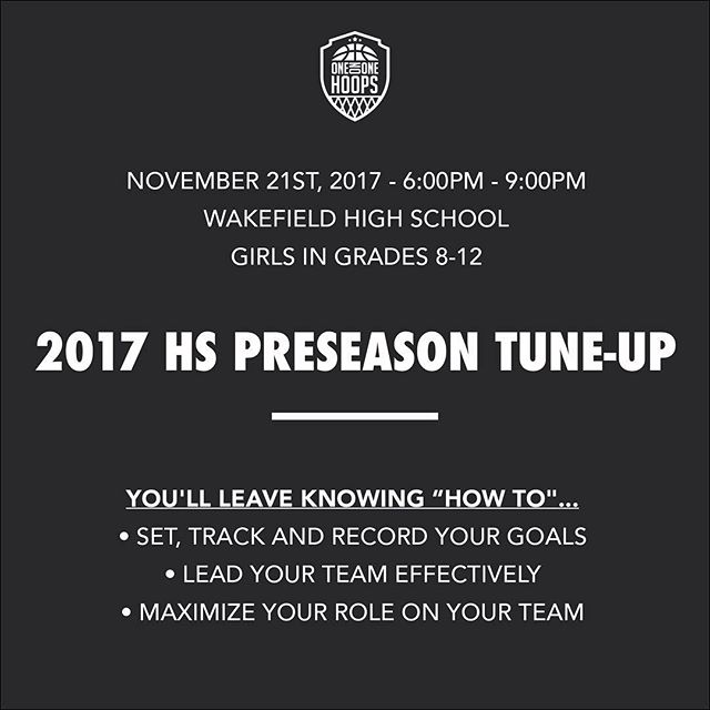 November is here! Register today for our High School Preseason Tune-up. Get prepared and in basketball shape for your upcoming winter season!
