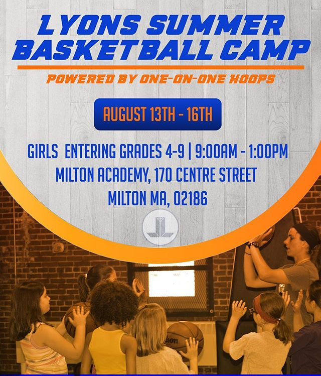 Please join us this summer at the Lyons Summer Basketball Camp at Milton Academy. Take the time to invest in your game and reap the rewards next Basketball season!  Registration link in bio 🏀  #milton #miltonacademy #basketball #youthbasketball #girlsyouthbasketball #getbetter #bostonarea #bostonsummercamp #youthbasketball #youthbasketballcamp #girlpower #camp #2018summercamp