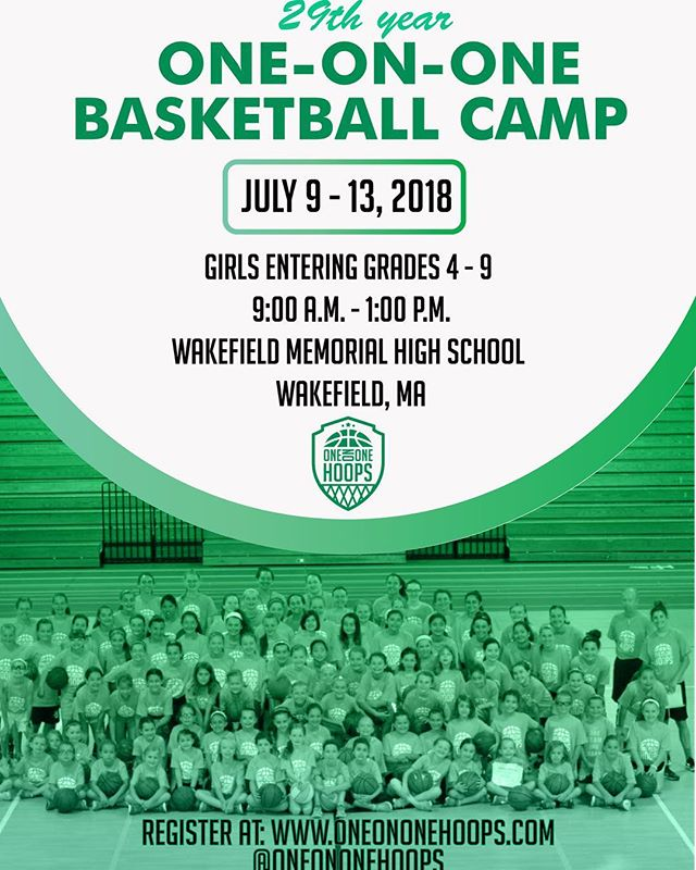It's our 29th year of running One-on-One summer Basketball Camp! Come join us at Wakefield High School from 9:00am - 1:00pm 💪🏀 Link in bio!  #girlsbasketballcamps #summercamp #summerbasketball #girlpower #basketball #hoopcamp #camp #girls #youthbasketball