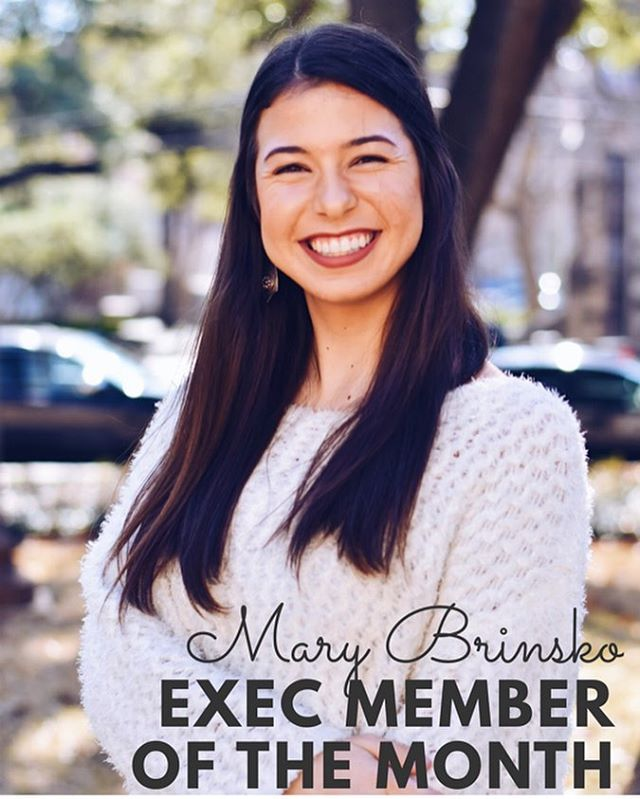 "Our Exec member of the month this October is: President elect Mary Brinsko!!!! ""Hello! My name is Mary; I'm a junior history major in UTeach, and if I could go back in time I would go to 870 BCE to a feast held to celebrate the new Assyrian capital. I'm a proud member of Alpha Delta Pi and am about to serve my second year on UPC Exec. One of my favorite memories on exec is budget cap during recruitment. I loved grabbing coffee and bfast tacos with Sloane and Kate after incredibly long nights and then getting to see all the hard work the sororities were putting into recruitment. I am so incredibly impressed by the women in our community everyday and it's an honor getting to work so closely with such a variety of passionate ladies."" Let's show Mary some love in the comments below!! 🤩💕🎉 #texaspanhellenic #strongwomen #womenempowerment #womenleaders #utaustin"