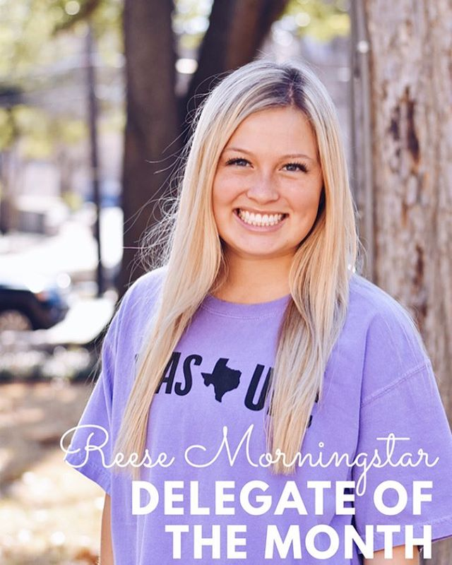 "Congrats to our Delegate of the Month: Reese Morningstar!!! ""Hey guys! I'm Reese Morningstar and I am the Panhellenic Delegate for Zeta! I loved being able to interact with so many women in Zeta and the 13 other chapters over this past year. I also got the opportunity of a lifetime by being a recruitment guide during recruitment! There were so many wonderful people I got to meet over the summer, new members and current members!! Being a delegate has given me valuable learning opportunities for my future career, as well as everyday interaction and life. I am a Nutrition major and plan on going to dental school after my undergrad studies. As far as the fun stuff goes, I'm a huge fan of comedy and crocs. I could never get through school and life without being a little lighthearted in situations! Being a leader on the chapter and UPC side of things was so eye-opening to me, as I got to see the work that gets to be put in on both sides of the spectrum. I couldn't have asked for a better experience!!"" Show Reese some love in the comments!! 🎉🤩🌟💕 #texaspanhellenic texaspanhellenic #womenleaders #strongwomen #empoweringwomen"