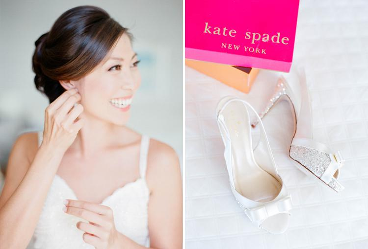 Kate Spade white glitter wedding shoe