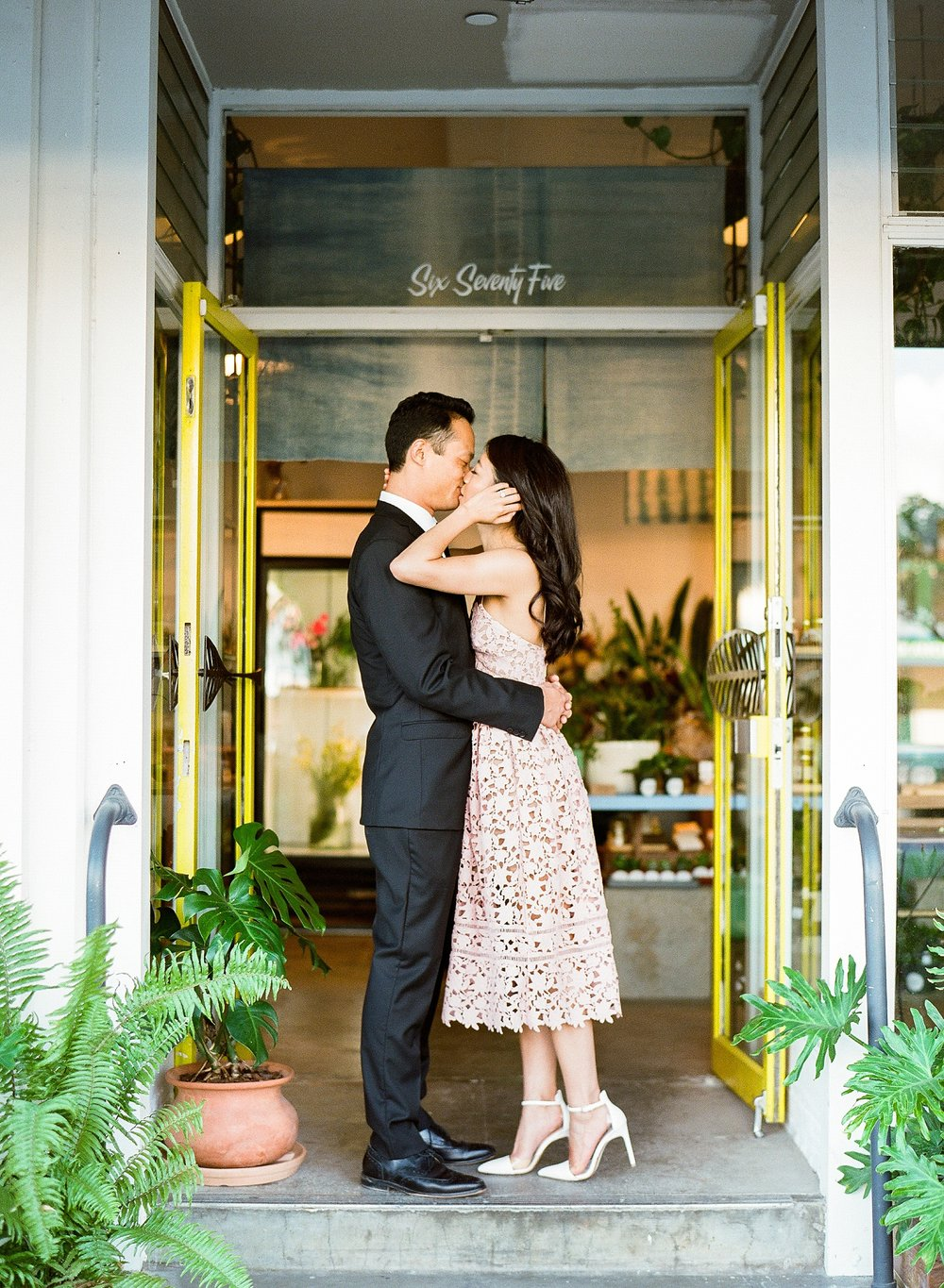 Arvo Honolulu Hawaii Coffee Shop Engagement Photo