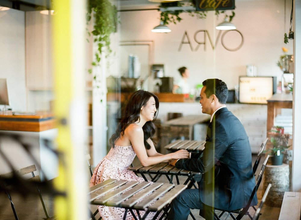 Honolulu Hawaii Coffee Shop Engagement Photo