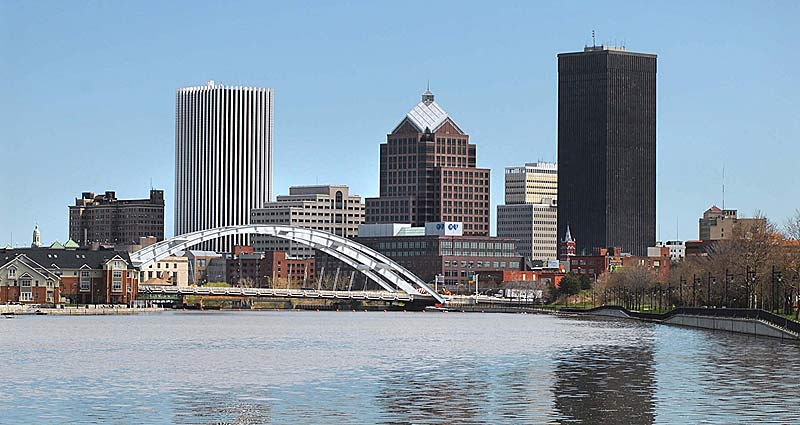 The City of Rochester as seen from Ford Street Bridge