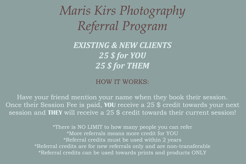 Referral program | maris Kirs Photography | Ponte Vedra, Jacksonville and St.Augustine professional photographer