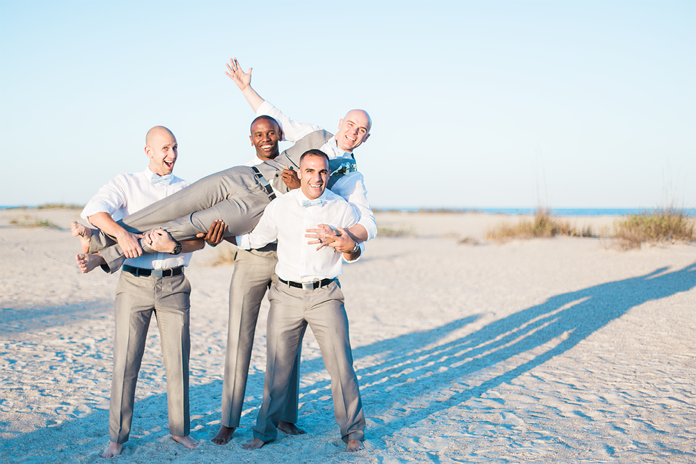 Groom and groomsmen during a wedding in St.Augustine