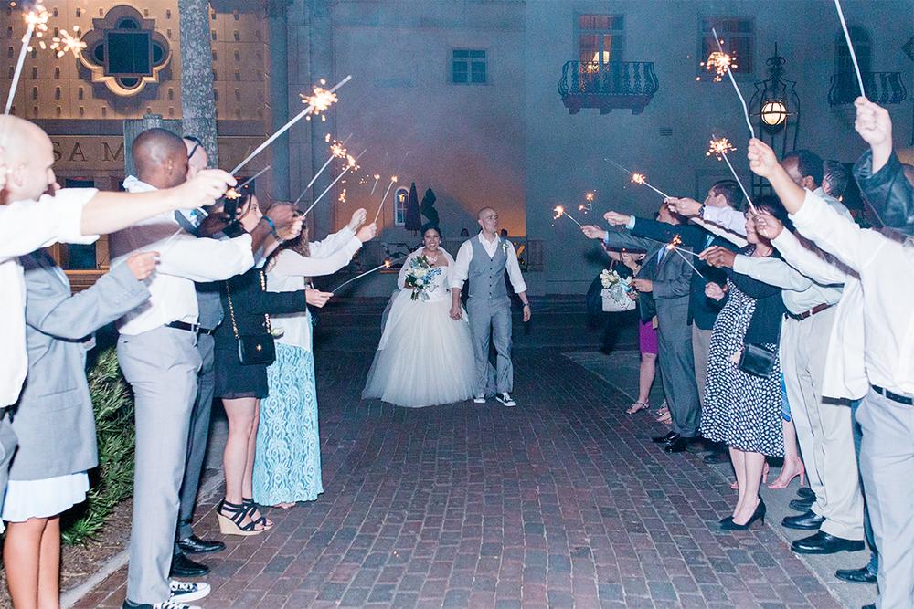 Sparkler exit in a wedding | Casa Monica Hotel, St.Augustine FL