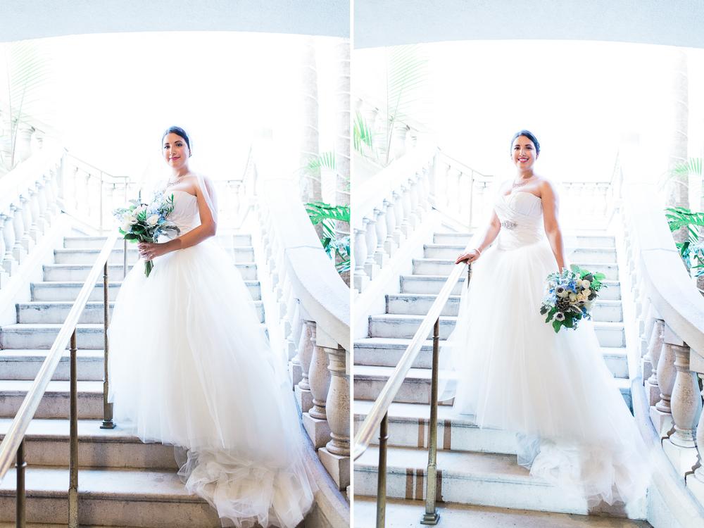 Bride in the staircase in Casa Monica Hotel