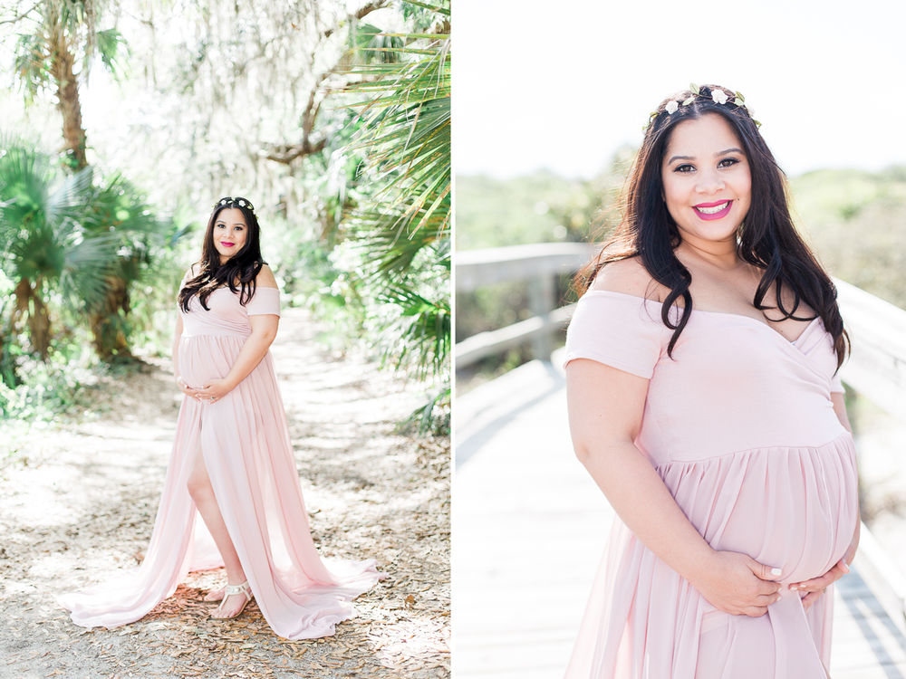 Maternity picture ideas | Blush maternity gown with a flower headband
