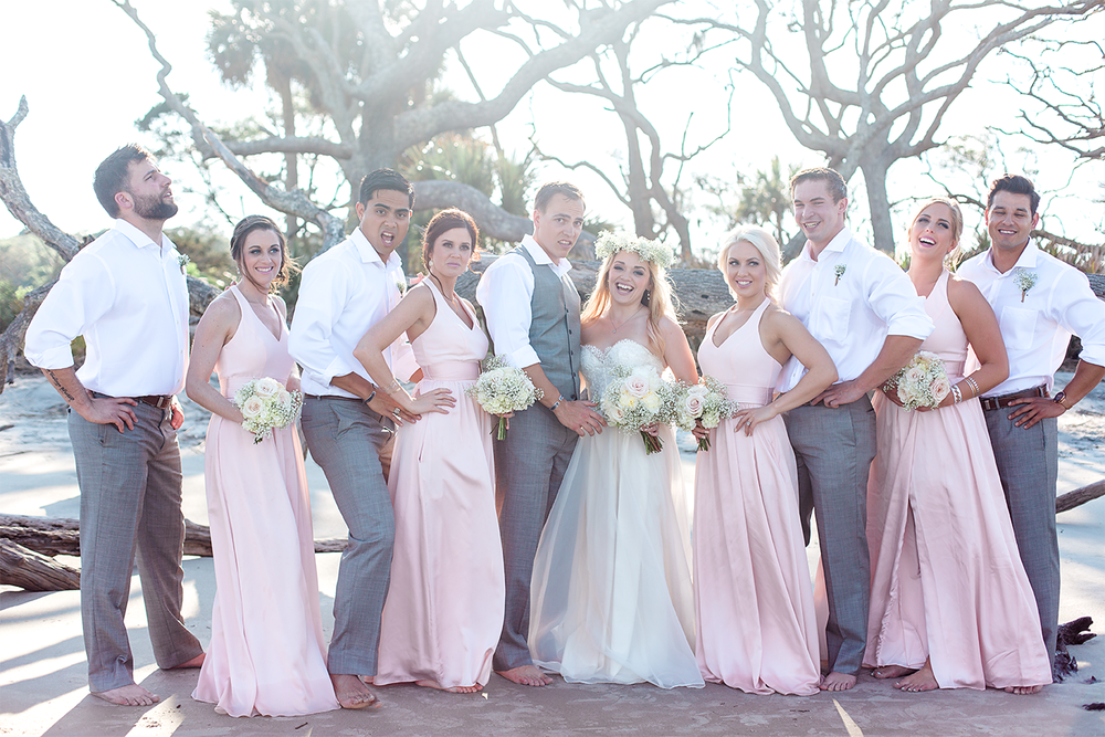 Bridal party during a Wedding in Driftwood Beach, Jekyll Island, GA