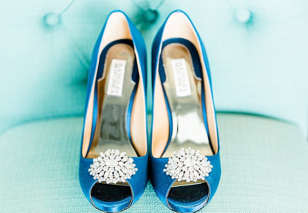 bride's heels with diamonds by badgley mischka