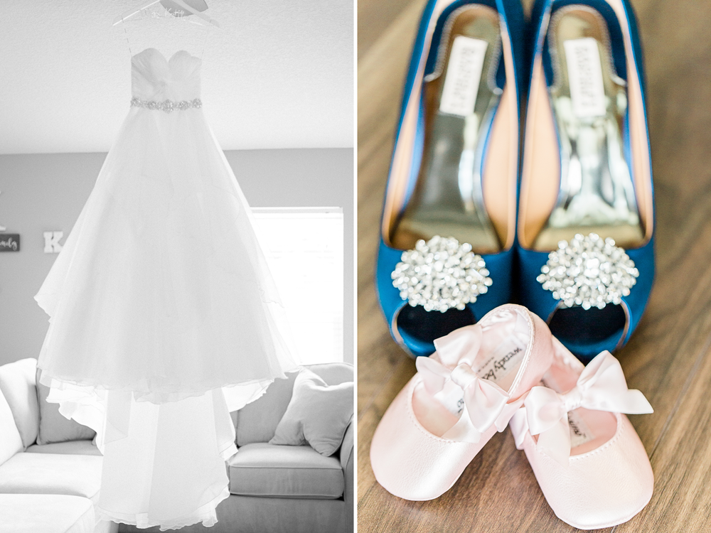 bride's wedding dress by love bridal boutique and heels by badgley mischka