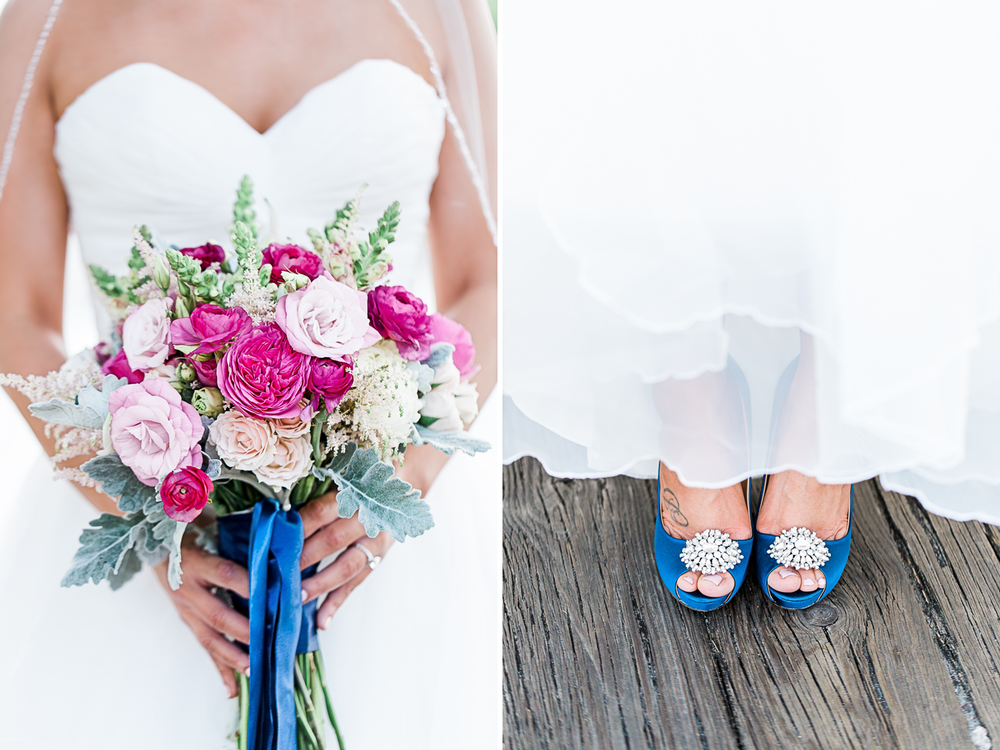 Detailed images of the bride's flower bouquet and heels