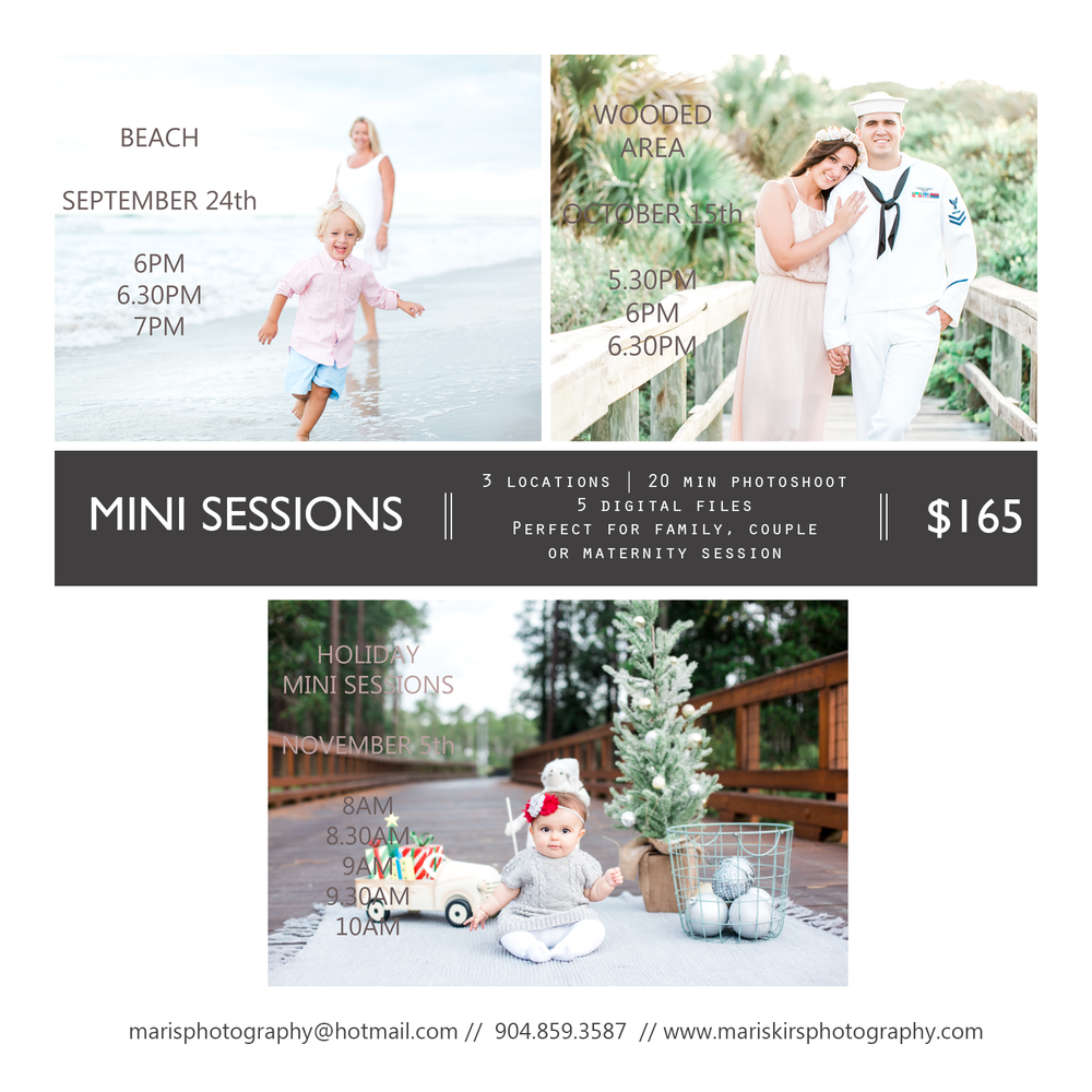 christmas mini sessions, beach mini sessions, jacksonville photography