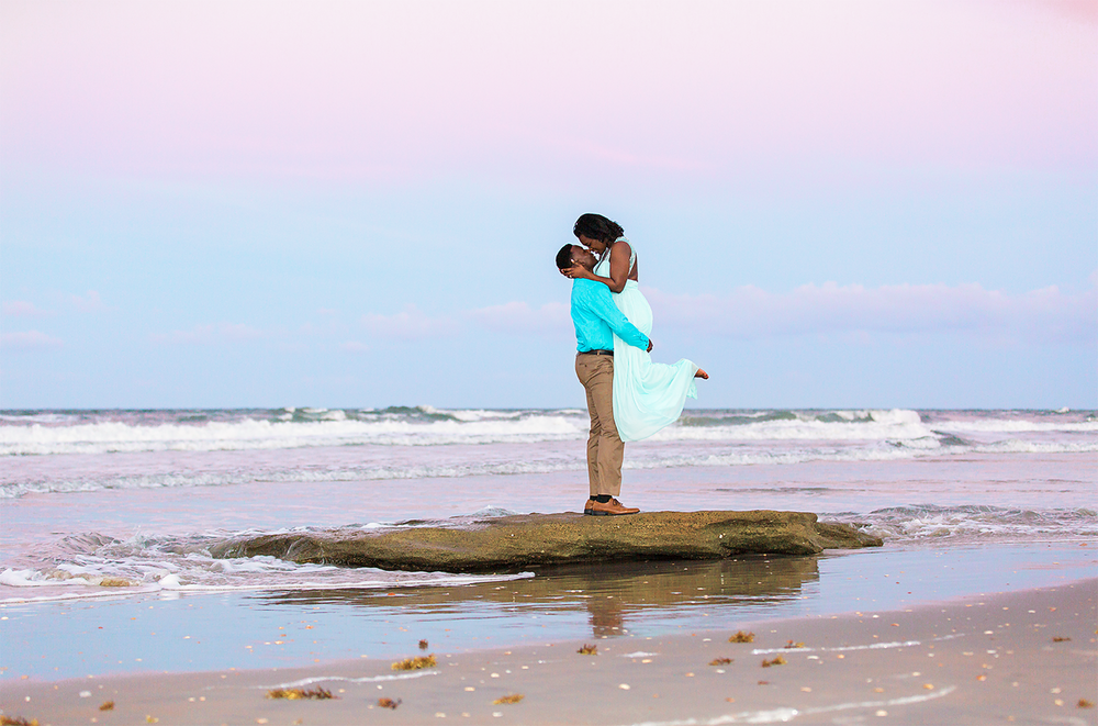 sunset engagement session in washington oaks gardens beach location