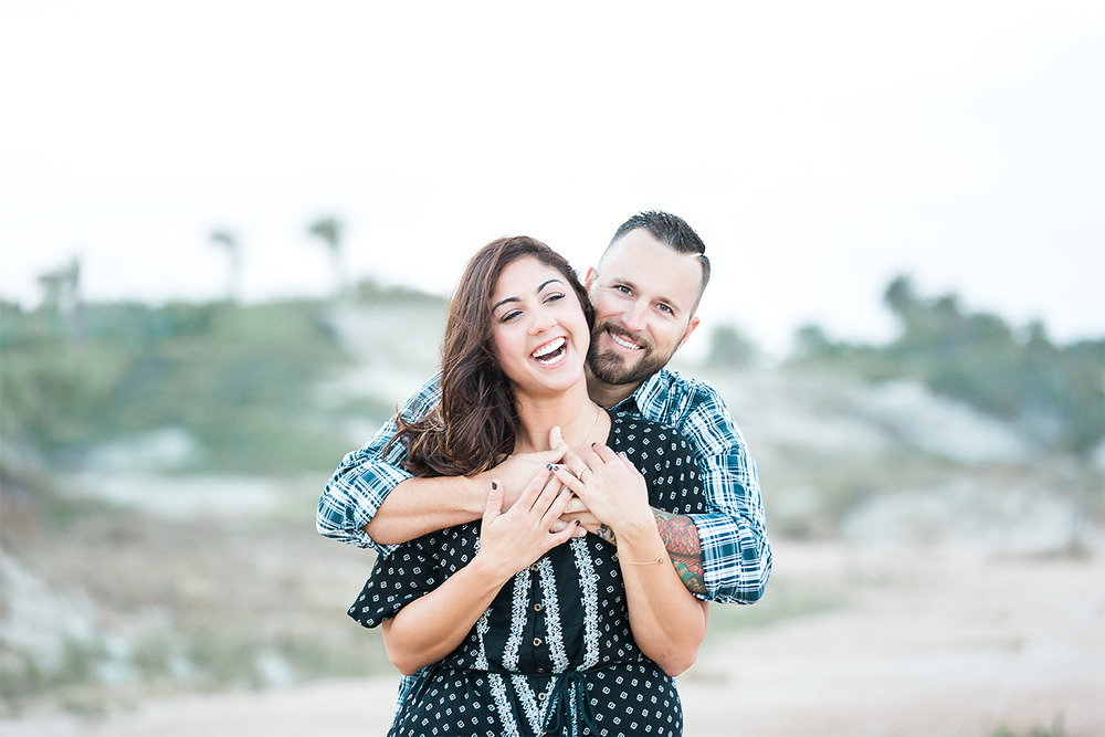Beach engagement session with a dog. Ponte Vedra Beach