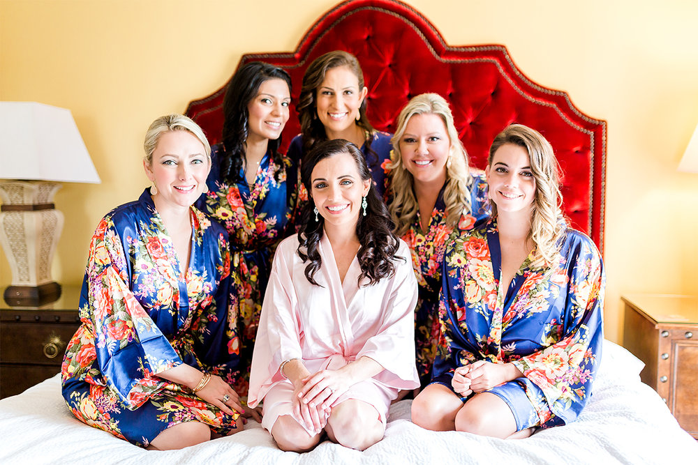 bride and bridesmaids in casa monica