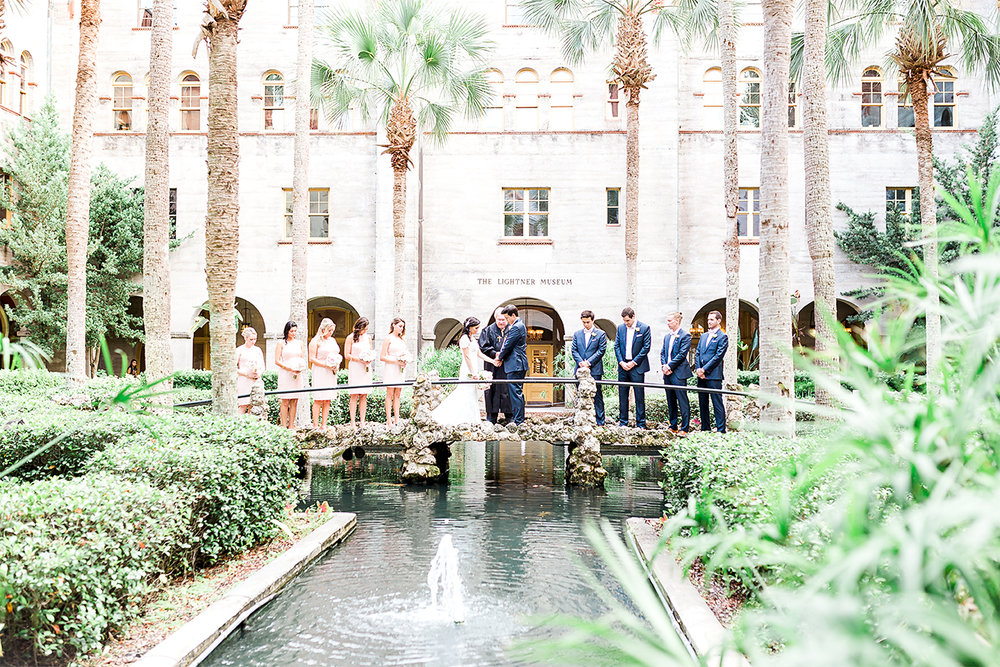 Wedding ceremony in the lightner museum and ceremony in the white room. St.Augustine wedding photogrpaher