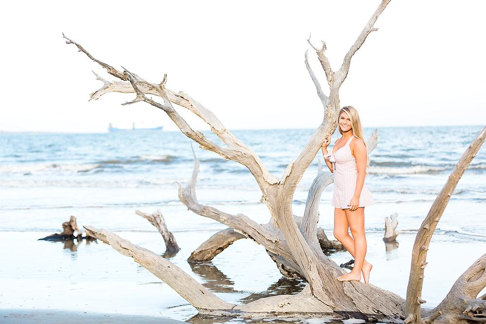 Beach photoshoot in Driftwood Beach in Jekyll Island