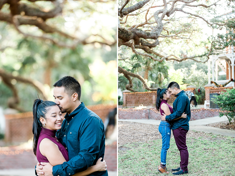 engagement photos in st.augustine lighthouse. Nights of Lights photoshoot