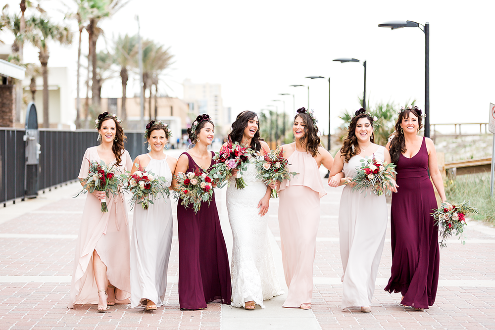 bridal party in jacksonville beach wedding