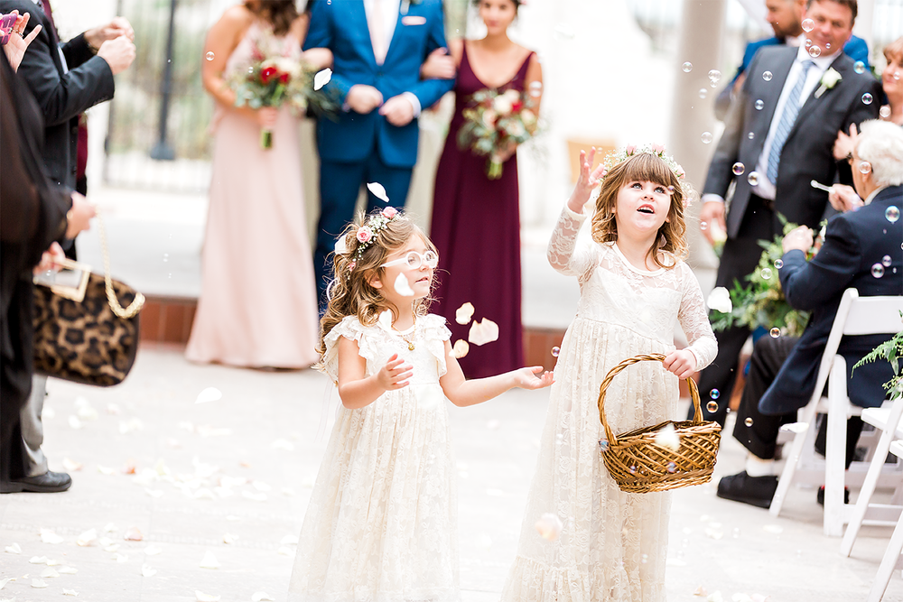 flower girls with bubbles