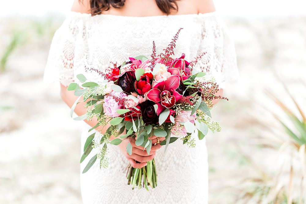 bride with her flowers made by Anything with Plants and Flowers