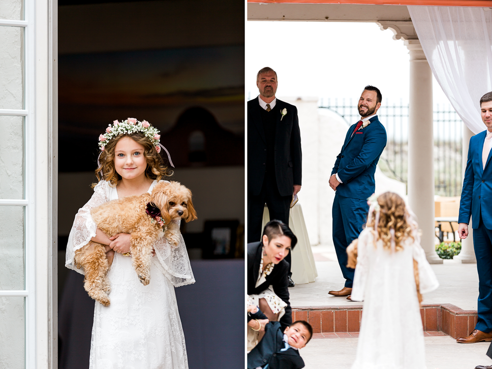 flower girl and the dog are part of the wedding