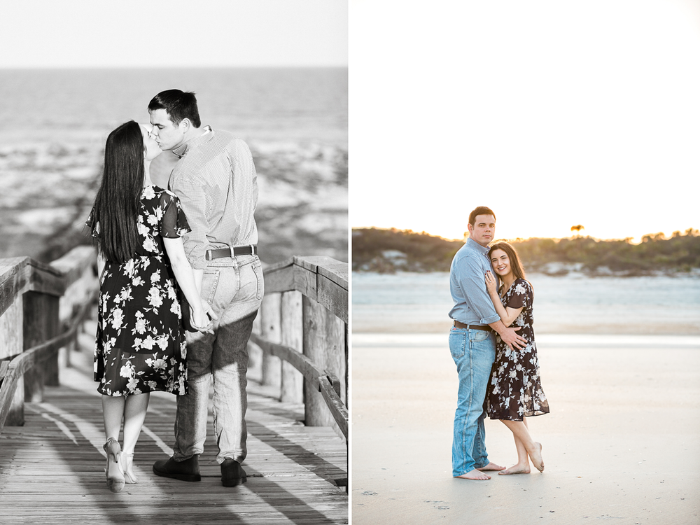 sunset engagement pictures at the beach in Jackosnville FL