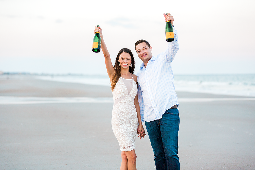 engagement session with champagne