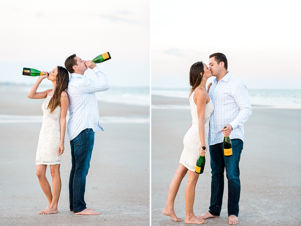 drinking champagne in engagement pictures