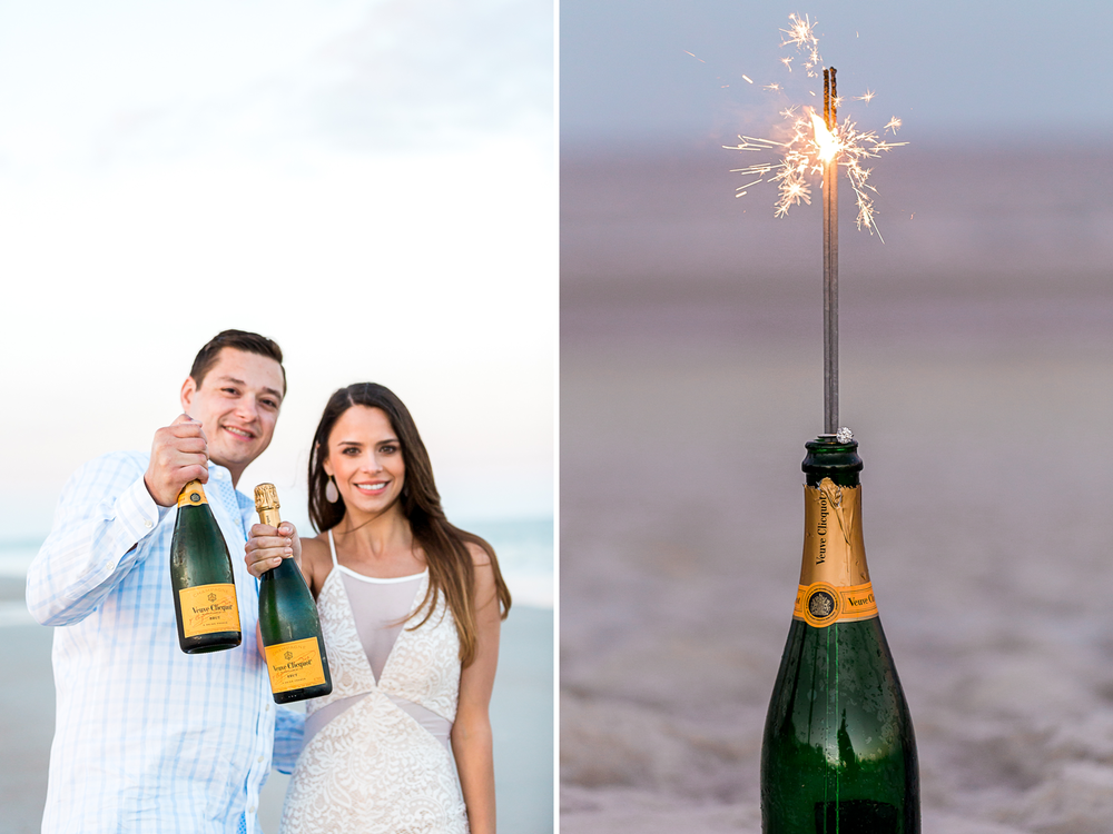 champagne and sparkles during engagement session in jacksonville fl