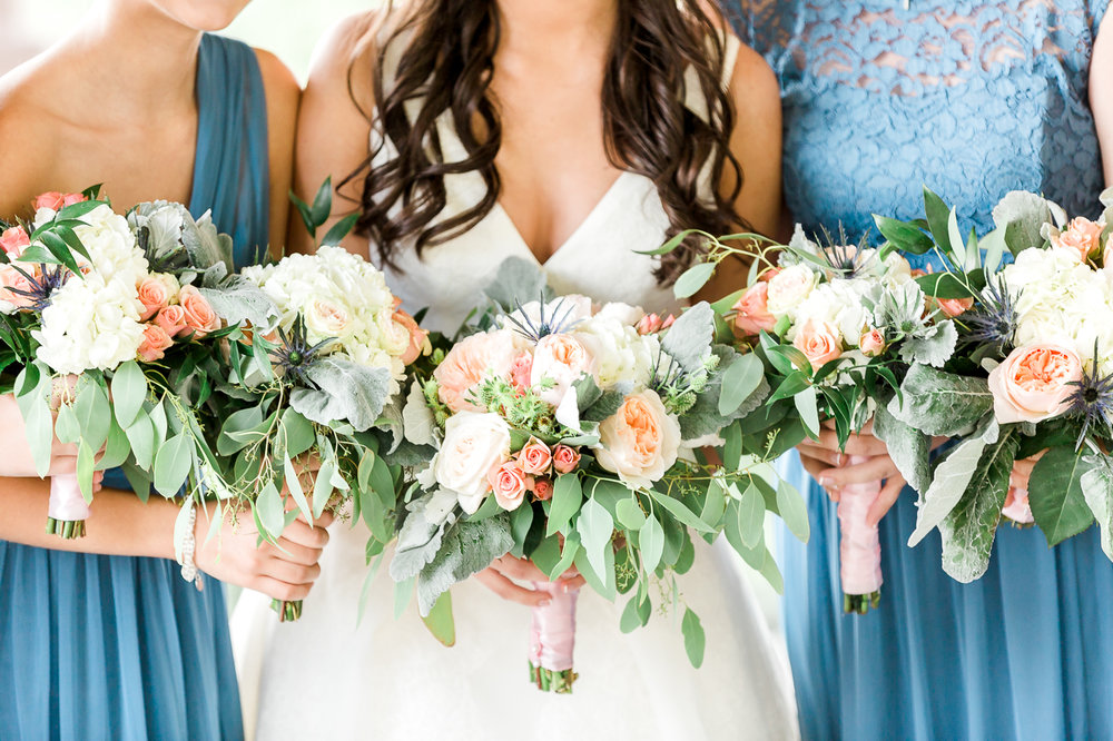 Bride and the flower bouquets