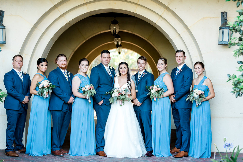 bride, groom and bridal party in nocatee crosswater hall