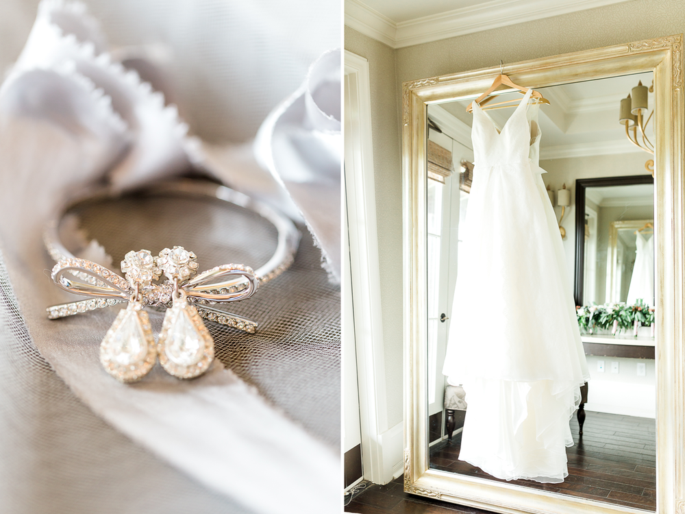 wedding details - jewelery and wedding dress