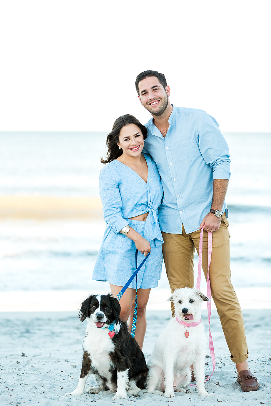 jacksonville beach engagement session with dogs