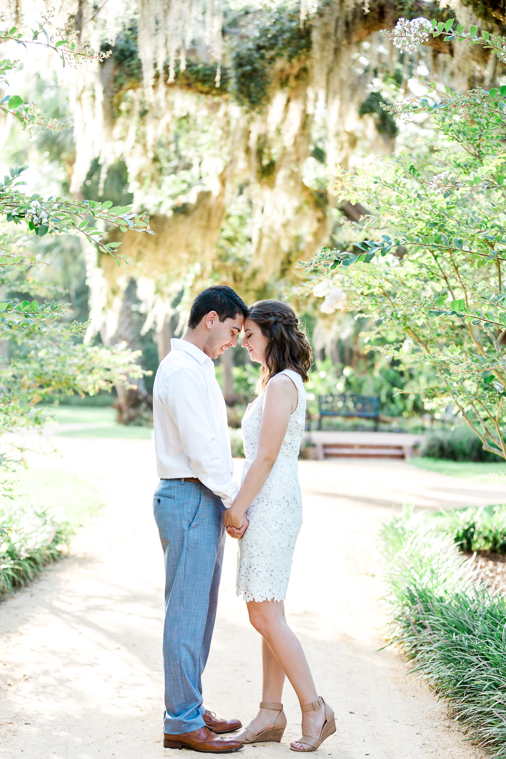 engagement session with a spanish moss