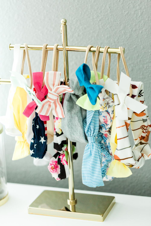 baby girl headbands in the nursery