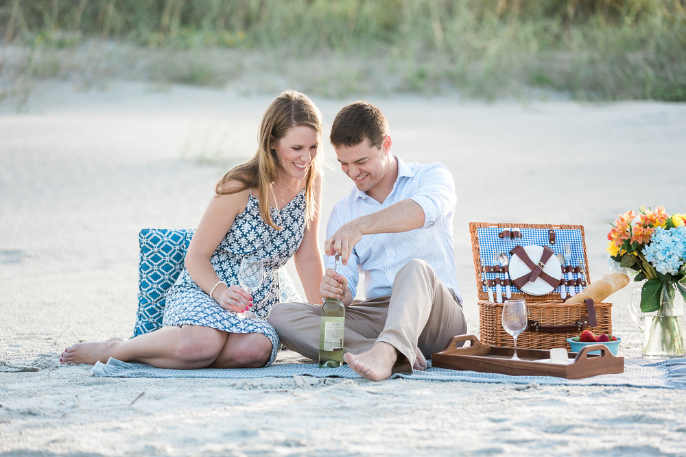 picnic at the beach and engagement pictures